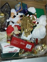 Box of assorted Christmas decorations and