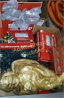 Box of assorted Christmas lights and decorations