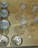 9 assorted stemmed glasses- sundae glasses,