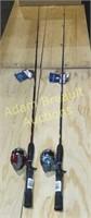 2 Zebco Atomz fishing poles, new