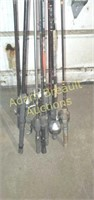 9 assorted fishing poles and reels