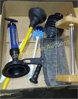 Box  lot  plungers, toilet bowl cleaners, dustpan,