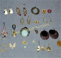 Assorted earrings and pendants