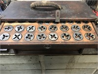 Vintage wooden 5 drawer machinist box, loaded with