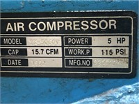 Puma 5hp air compressor w/60 gallon tank