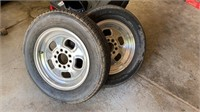 2 rims with 2 sets of tires