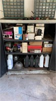Shop cabinet with automotive related parts and