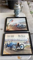 2 race pictures and beer stein