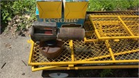 Metal yard cart with bug zappers and fogger