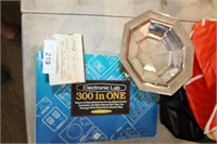 BOX-HOCKEY CARDS, STEM CANDY DISH ETC