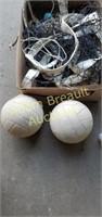 Volleyball net, volleyballs, baseball mitts,