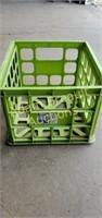 Sterilite green plastic storage crate, 15.25 x