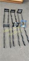 6 rubber coated Steel 12 in wall hangers, black