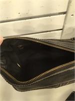 Coach Black Signature Leather-Trimmed Medium