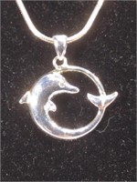 NIB Sterling Silver Avon Dolphin Necklace - 25 in