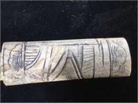Vintage Japanese carved bone handle knife , with