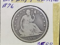 1876 Seated Liberty half dollar in flip