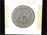 1859-O Seated Liberty Half Dollar in flip