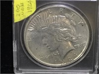 1924 Peace Silver Dollar in case