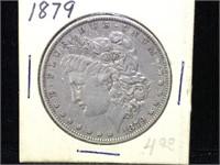1879 Morgan Silver Dollar in flip