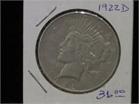 1922-D Peace Silver Dollar in flip
