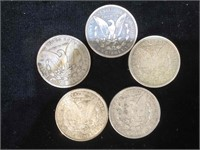 5 Morgan Silver Dollars - assorted years and