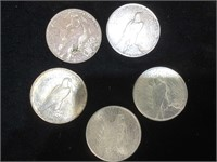 5 Peace Silver Dollars - assorted years and