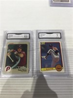 Gma graded pete rose 8.5 & Nolan ryan 7