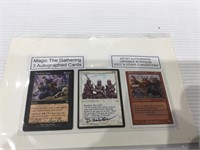 3 magic the gathering cards 2 autographed