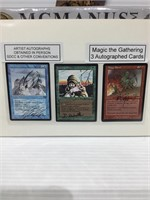 3 magic the gathering autographed cards
