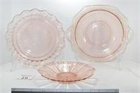 (3) Pink Depression Glass Items