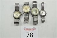 (4) Watches (John Alden, Waltham, Caravelle, Elgin