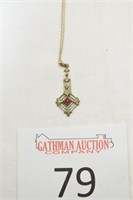 Possible Gold Necklace w/ Ruby-Like & Pearl-Like