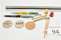 Pens, Wooden Nickels, & Singer Thimble