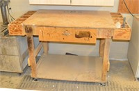 Wooden Work Bench with hardware
