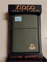 Zippo green campfire lighter - unused