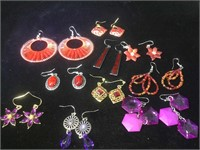 10 pairs of fashion jewelry earrings, assorted