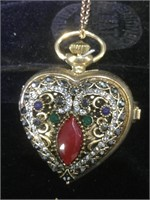 Heart-shaped watch necklace with rhinestones and