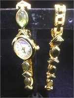 Matched set of watch and bracelet with green