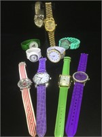 10 costume jewelry watches, including 1 Christmas