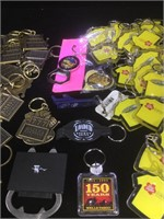 Assorted lot of key rings, including 2 bags of