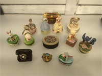 Lot of assorted trinket boxes and more