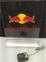 Red Bull glass lighted display logo, approx 10x12