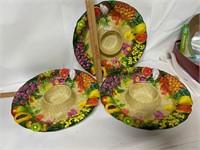 Three plastic chip dip platters