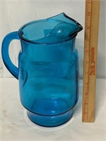 gorgeous blue glass pitcher
