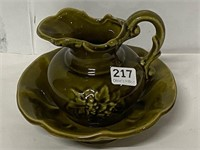 McCoy USA Pottery small pitcher and bowl