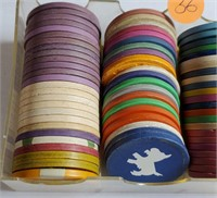 MIXED LOT OF VINTAGE GAMING CHIPS (36)