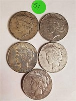 LOT OF 5 SILVER PEACE DOLLARS (51)