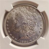 1884 SILVER MORGAN DOLLAR MS63 (5)