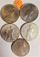 LOT OF 5 SILVER PEACE DOLLARS (55)